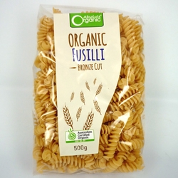 Absolute Organic Pasta Fusilli 500g x 8 VALUE BULK BUY