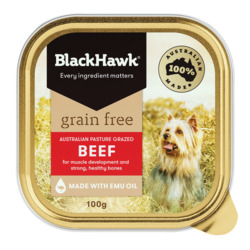Black Hawk Grain Free Beef Dog Food 100g x 12 VALUE BULK BUY