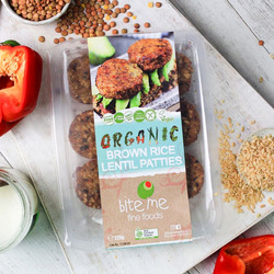 Bite Me Fine Foods Organic Brown Rice Lentils  Patties (pack of 9) 225g