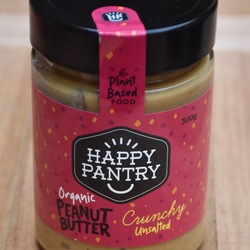 Happy Pantry Organic Peanut Butter Crunchy Unsalted 300g