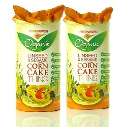 Pure Harvest Corn Cakes Linseed & Sesame 150g x 12 VALUE BULK BUY